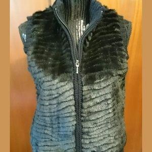 Northern Reflections Black Faux Fur Vest  S